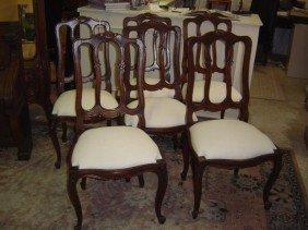 Set Of 6 Oak Louis XV Style Chairs