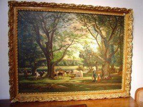 French Gilt Framed Painting-Oil On Canvas _ Signed H. Z