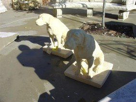 Pair Of Dogs Made From Reconstituted Stone
