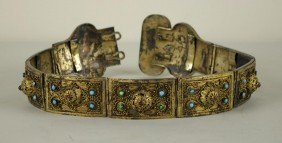 RUSSIAN GILT SILVER BELT WITH CABOCHON STONES