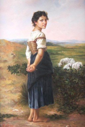 CONTEMPORARY PAINTING OF A SHEPHERDESS