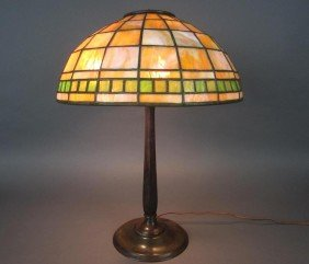 TIFFANY STUDIOS LEADED GLASS AND BRONZE LAMP