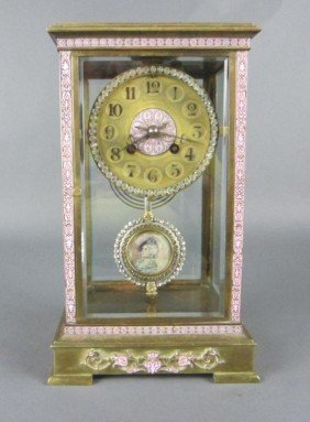 TIFFANY FRENCH BRONZE CRYSTAL REGULATOR CLOCK