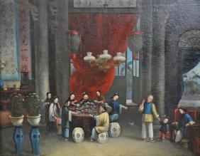 19THC. CHINESE SCHOOL INTERIOR SCENE