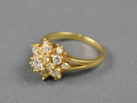 TIFFANY GOLD AND DIAMOND CLUSTER RING