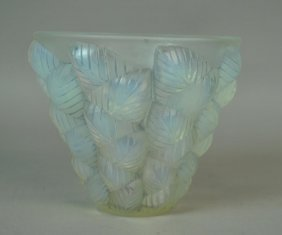 Early Lalique Blue Opalescent Glass Vase