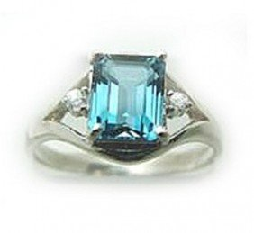 2.10 CT Blue Topaz Diamond Ring Appraised $2,600
