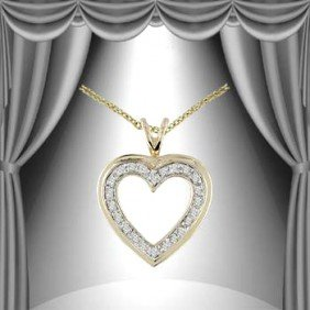 Genuine 0.25 CT Diamond Heart Pendant