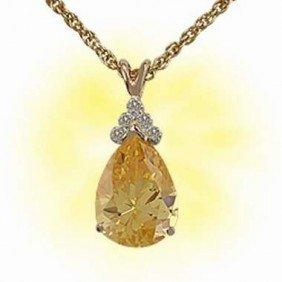Genuine 6 CT Citrine Diamond Pendant