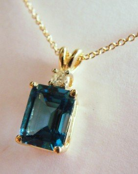2.70 CT London Blue Topaz Pendant Appraised $3,500