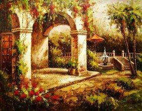 """Large Handmade Oil Painting """"Artist's Garden"""""""