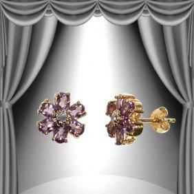 Genuine 3 CT Amethyst Diamond Flower Earrings