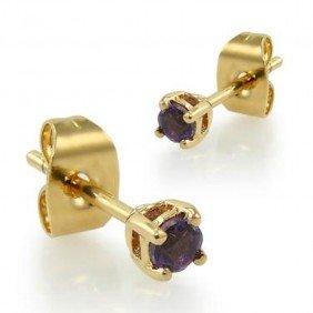 .25 CT Amethyst Post Earrings
