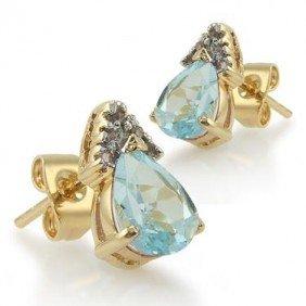 3 CT Blue Topaz Diamond Teardrop Earrings
