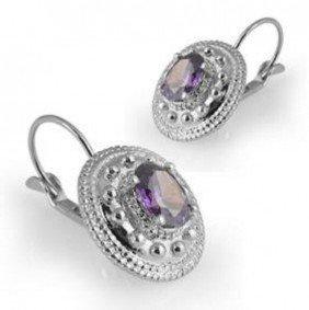 Genuine 1 CT Amethyst Silver Leverback Earrings