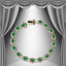 Genuine 9 CT Emerald Diamond Bracelet