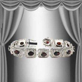 7 CT Garnet Silver Antiqued Silver Bracelet