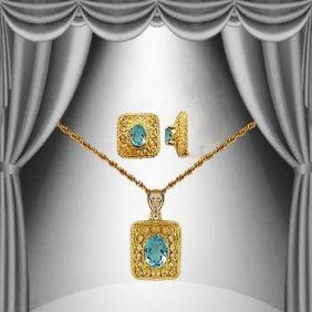 Genuine 2 CT Blue Topaz Diamond Museum Set