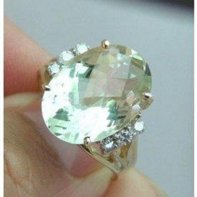 Green Amethyst Ring Setting With Diamond - Appraise