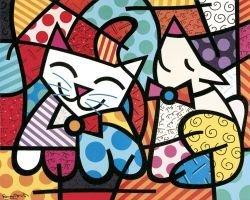 "Art Print By Romero Britto ""Happy Cat And Snob Dog"""