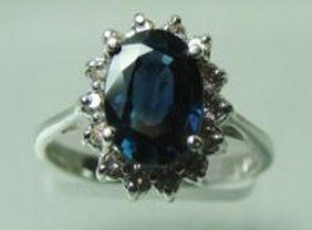 2.45 CT Natural Sapphire Diamond Ring Appraised $4,