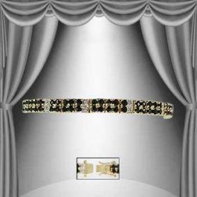 17 CT Sapphire And Diamond 2-Row Bracelet