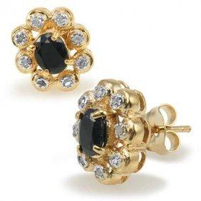 Genuine 1.2 CT Sapphire Diamond Egg Earrings