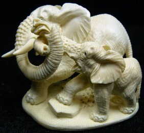 Rare Hand Crafted Mammoth Ivory Two Elephants