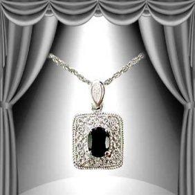 Genuine 1 CT Sapphire Diamond Silver Pendant