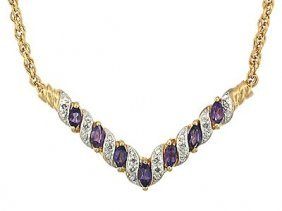 7 CT Amethyst And Diamond Elegance Necklace