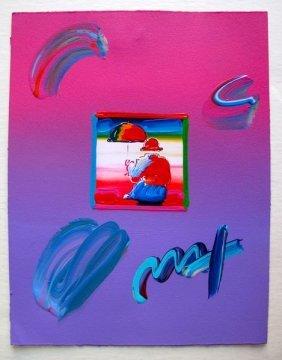 Peter Max UMBRELLA MAN Original Mixed Media