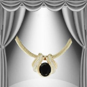 Genuine 7 CT Sapphire Diamond Pendant