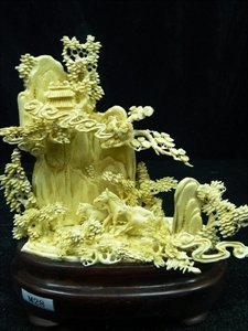 Rare Hand Carved Ivory Three Horses Mountain
