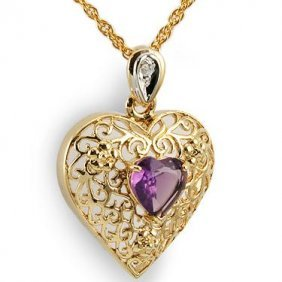 Genuine 1 CT Amethyst Diamond  Heart Pendant