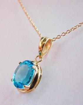 Genuine 1 CT Blue Topaz Diamond Pendant