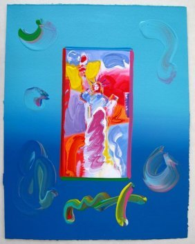 Peter Max STANDING LIBERTY Original Mixed Media
