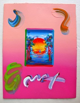 Peter Max BETTER WORLD Original Mixed Media
