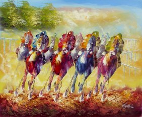 Oil Painting On Canvas Horse Race