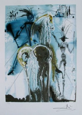 """Dali Lithograph """"dalinean Horses - Don Quixote"""""""