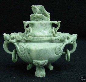 Deep Carved Jade Incense Burner