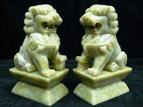 """Pair Of 8"""" Jade Foodogs/fudog/lions"""