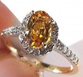 2.10 Ct Yellow Sapphire Diamond Ring Appraised $4,300