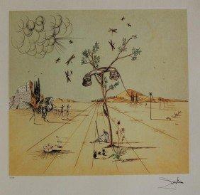 Dali Lithograph Disembodied Telephone In Desert
