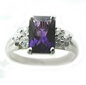 2.10 Ct Amethyst Diamond Ring Appraised $3,200