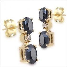 3 Ct Sapphire Diamond Dangle Earrings