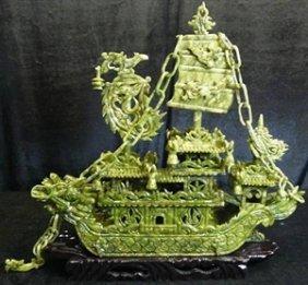 """Real 16"""" Green Jade Dragon Boat"""