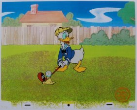 Disney Donald Duck Playing Golf Original Serigraph Cel