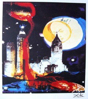 Dali Lithograph Manhattan Skyline