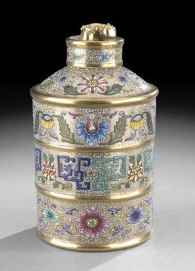 Chinese Polychrome And Enameled Canister