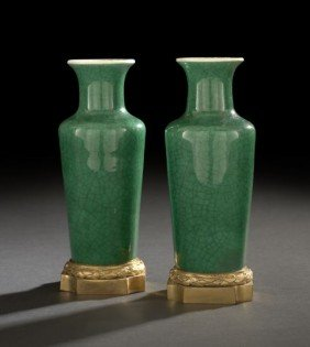 Pair Of Chinese Green Crackled Glaze Vases